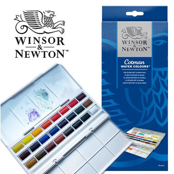 winsor newton cotman watercolour 24 whole pan studio set paint art