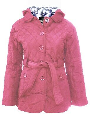 Size 16 18 Womens Pink Jacket Quilted Coat Parka Buttons Belt Hood Parker Ladies