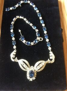 Vintage-1950s-Deco-Sapphire-amp-Clear-Diamante-Rhinestone-Necklace-Safety-Chain