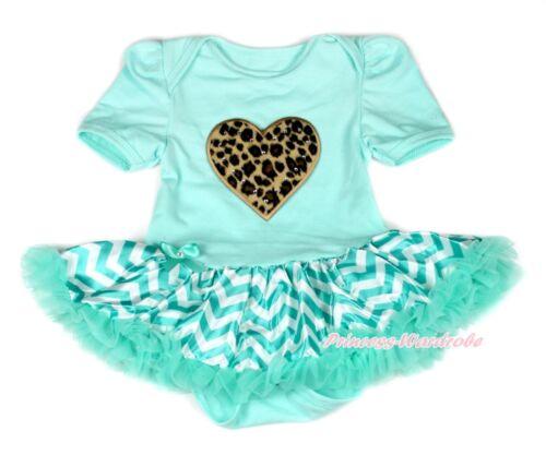 Leopard Heart Aqua Blue Bodysuit Aqua Blue White Wave Stripes Baby Dress NB-12M