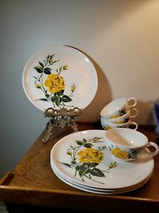 Set-4-Salem-China-Talisman-Yellow-Rose-Snack-Luncheon-plates-w-coffee-cups-MCM