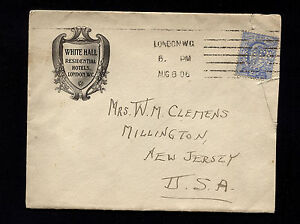 1906 Great Britain London to USA Perfin HR on Hotel Stationary