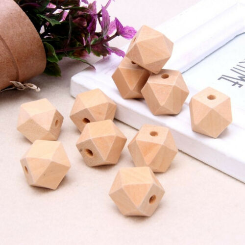 10//20//50x Geometric Faceted Unpainting Natural Wood Unfinished Wooden hole Beads