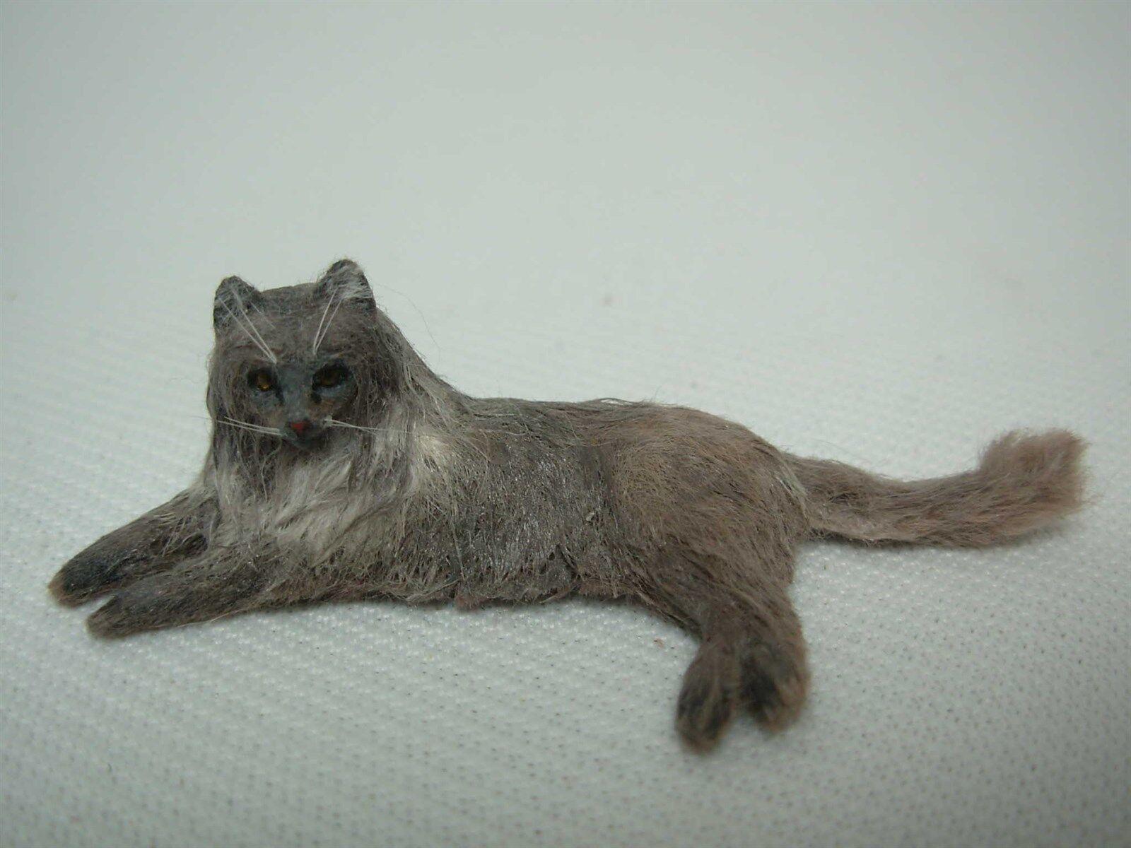 OOAK artesano de Casa de muñecas en miniatura realista Piel real que se establecen Persian Cat