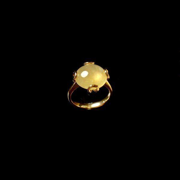 【KOOJADE】Icy Emerald Yellow Jadeite Ring《US SIZE 6》