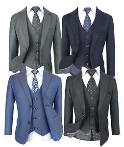 5 Piece Navy Formal Suit - Confirmation Wedding Communion Boys 2-16