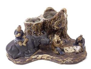 Chinese Ceramic Stump Brush Pencil Pot Holder Ox Mud Figures Playing Game