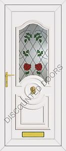 White Buckingham UPVC Front Door With Climbing Rose Glazed Panel, Frame & Letter