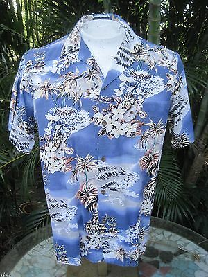 Hawaiian ALOHA shirt M pit to pit 22 HILO HATTIE cotton rayon ukulele floral