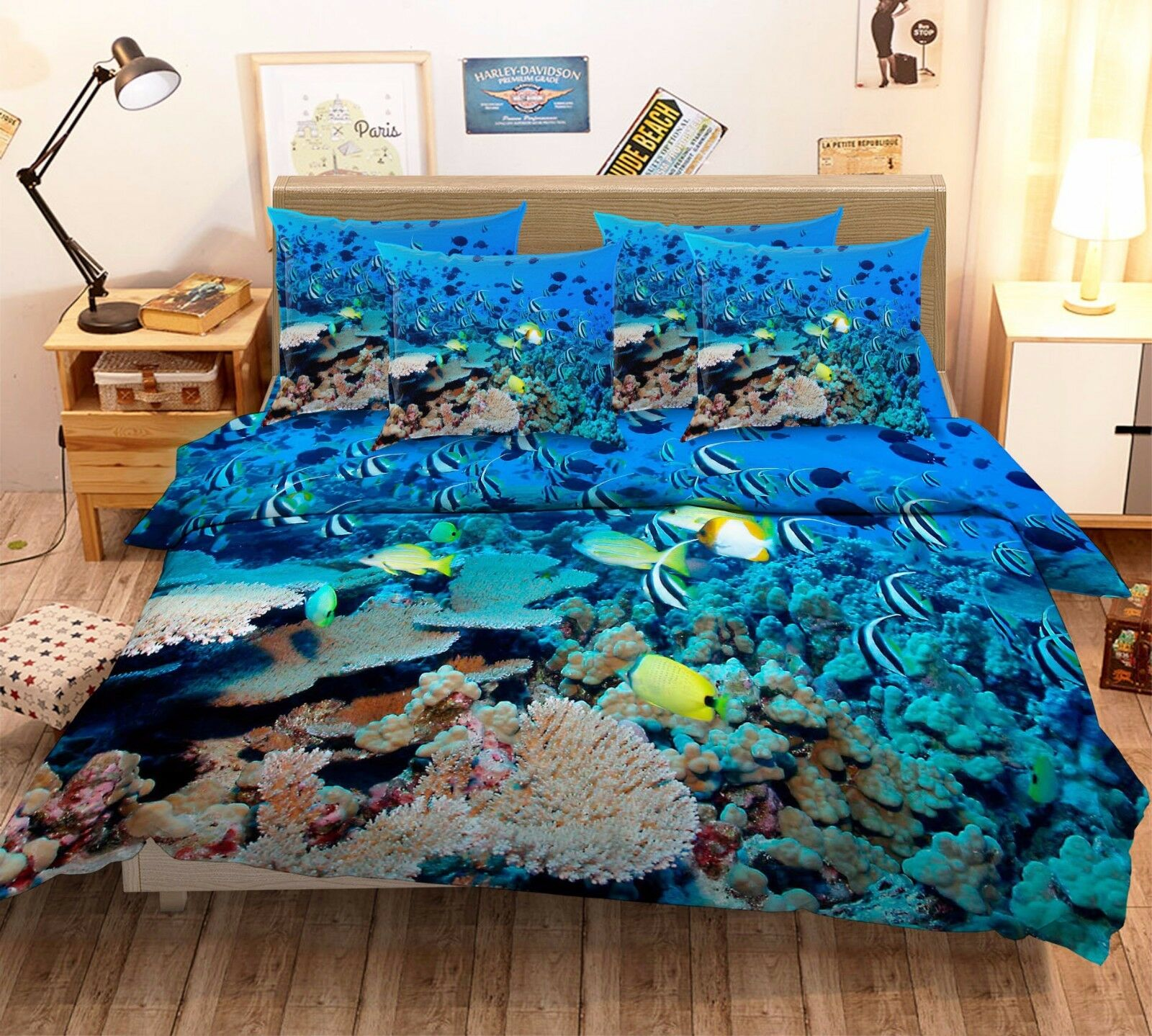 3D Dense Fish Group 7 Bed Pillowcases Quilt Duvet Cover Set Single Queen AU