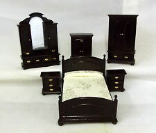 Dolls House Miniature Wooden 1:12 Scale Victorian Dark Oak Bedroom Furniture Set