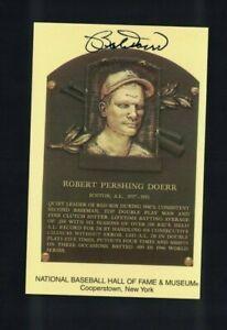 Bobby Doerr Boston Red Sox Signed Gold HOF Plaque Postcard W/Our COA D