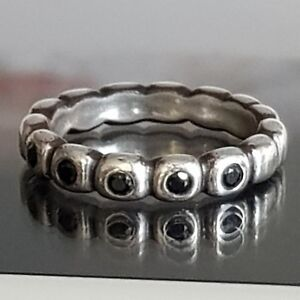 36d97910d Pandora Black Ice Ring of Ovals Silver Bubbles Stacking Ring Size 54 ...