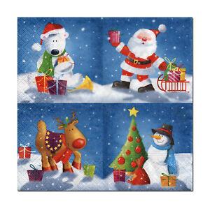 4-Motivservietten-Servietten-Napkins-Weihnachten-Nikolaus-Schneemann-412