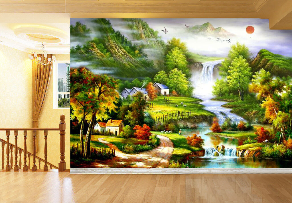 3D Field Forest Painting 2283 Wall Paper Wall Print Decal Wall AJ WALLPAPER CA