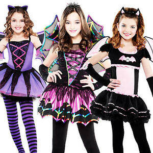 68d756a7d Ballerina Bat Vampires Girls Fancy Dress Halloween Party Childs Kids ...