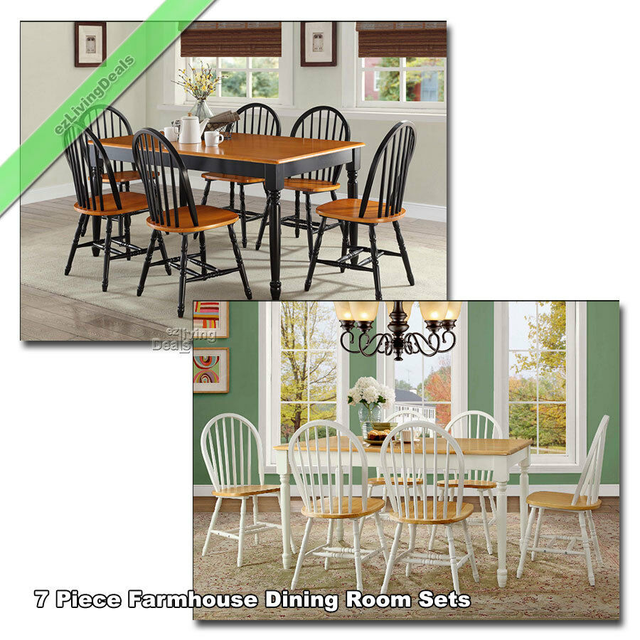 Superb Details About 7 Piece Dining Set Farmhouse Wood Table Chairs Country Room Kitchen Black White Andrewgaddart Wooden Chair Designs For Living Room Andrewgaddartcom