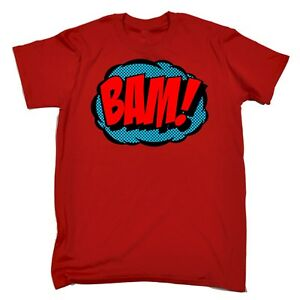 BAM-FUMETTO-Design-Divertente-Geek-Nerd-UMORISMO-Cartoon-Fumetti-Supereroe-T-shirt