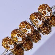 5 White Gold Enamel Crystal Charms BEADS Fit European jewellery making Bracelet
