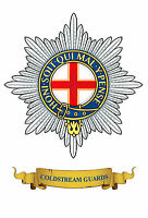 COLDSTREAM GUARDS CAP BADGE ON METAL SIGN 28cm x 19cm. OUTSIDE OR INSIDE USE