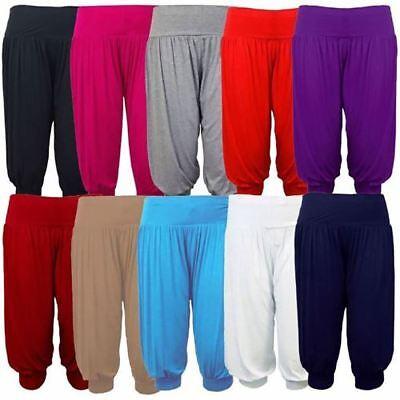 Ladies 3//4 Plain /& Printed Ali Baba Harem Trouser Elasticated Waistband Pants
