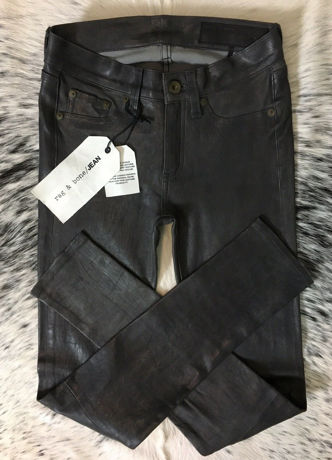 1000 RAG & BONE  THE LEATHER SKINNY  SZ 24 WASHED CHARCOAL NEW SEASON