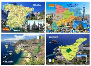 Spain Country Map Catalonia Canary Islands New Postcard
