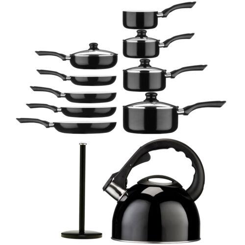 Black Ecocook cuisine antiadhésif pots et des casseroles en acier inoxydable Casserole Set