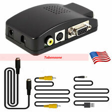 New TV RCA Composite S-video AV to VGA PC LCD Converter Adapter Switch Box TO