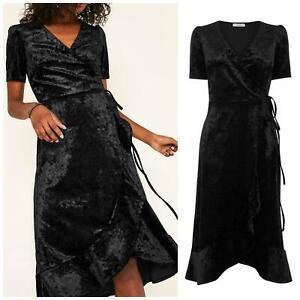OASIS-Black-Crushed-Velvet-Wrap-Dress-Short-Sleeve-Knee-Length