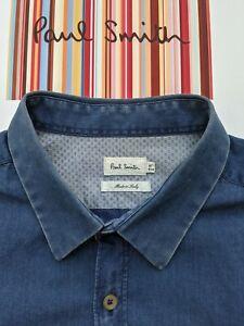 """Paul SMITH Baumwolle/Denim-Style Shirt-Größe M - 16"""" Kragen-hervorragende & Cool"""