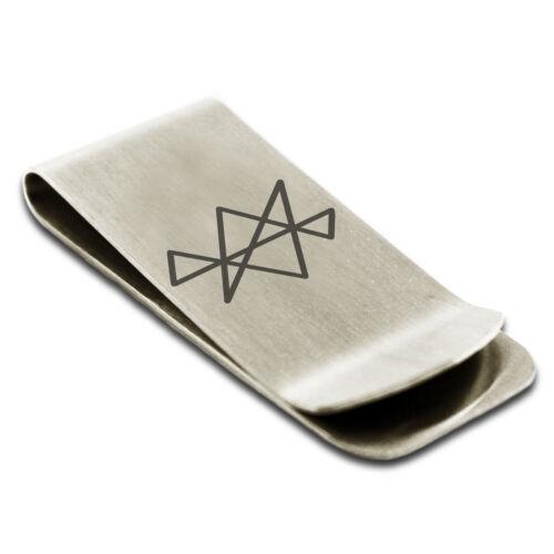 Stainless Steel Reiki Midas Star Prosperity Slim Wallet Cash Card Money Clip