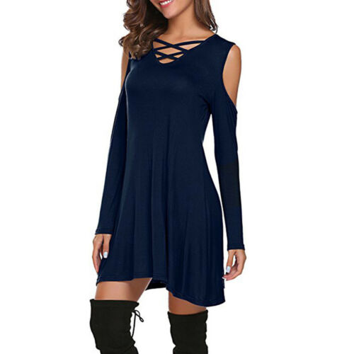 Women/'s Cold Shoulder Tunic Mini Dress Criss Cross Long Sleeve Swing Dresses Top