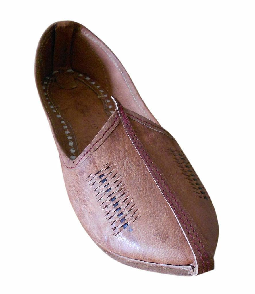 Men shoes Jutties Indian Handmade Genuine Leather Mojari Flat Espadrilles US 8