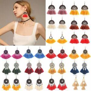 Fashion-Women-Bohemian-Long-Fringe-Tassel-Hook-Drop-Dangle-Earrings-Jewellery