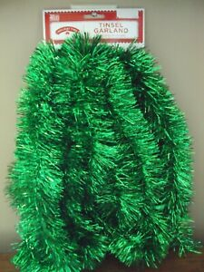 New 15 Ft Holiday Time GREEN Christmas Tree Tinsel Garland St Patrick's Day Wide   eBay