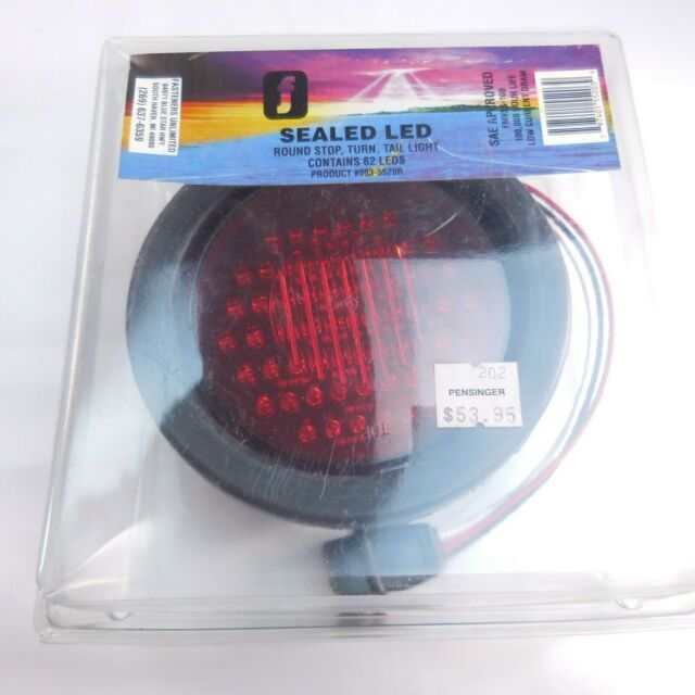 Red 62 Led Round Truck Trailer Rubber Mount Stop Turn Tail