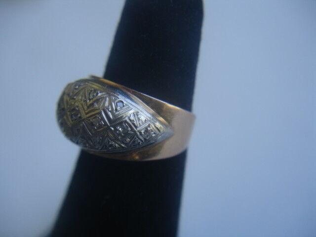 Vintage Antique pink 14K gold Platinum Dome Ring Size 4 3 4 3.4 grams