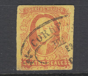Mexico-Sc-10b-used-1861-4r-dull-rose-on-yellow-Hidalgo-without-overprint-sound