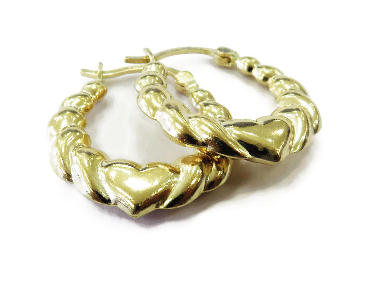 14k Yellow gold Heart Hoop Ladies Earrings  1.7g
