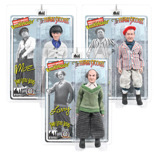 Three Little Beers Set of 3 The Three Stooges Retro Style 8 Inch Action Figures