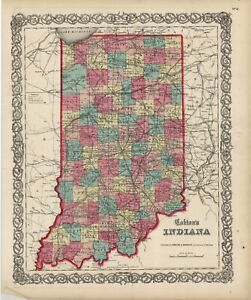 1860-Colton-039-s-034-INDIANA-034-original-ex-atlas