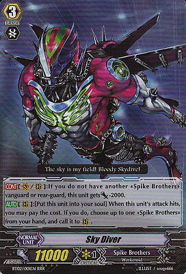 1x Cardfight!! Vanguard Sky Diver - BT02/001EN - RRR Near Mint