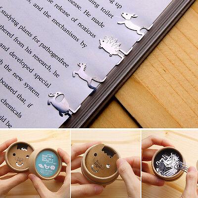 40pcs Animals Marathon Steel mini BOOKMARK clip type with case Korean fashion