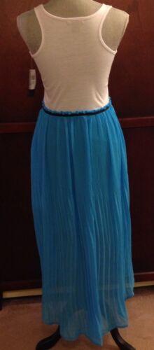 NEW Juniors Red Paint Turquoise And White Hi Lo Hem Sleeveless Dress Sizes M L