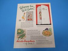 1948 Kelvinator Of Course! Refigerated From Top To Bottom Color Print Ad PA010