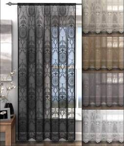 HOLLY-VOILE-Panel-Net-Lace-Curtain-Slot-Top-Heading-Damask-Design