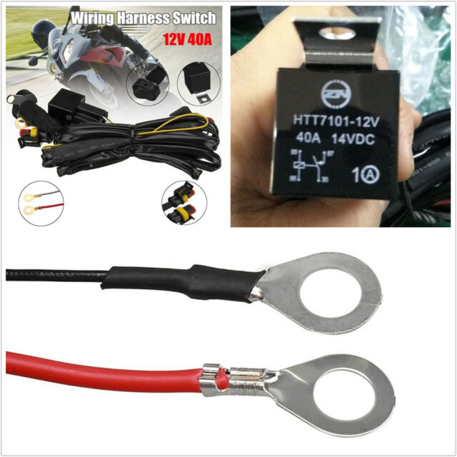 Motorcycle Bike LED Fog Lights Wiring Harness Switch On/off 12v 40a