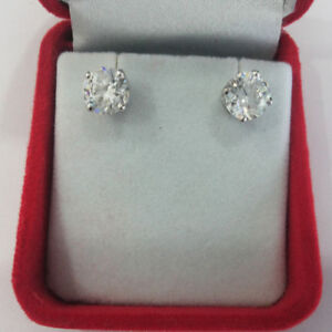 2-00-Ct-VVS1-Solitaire-Diamond-Earring-14K-Solid-White-Gold-Round-Cut-Studs
