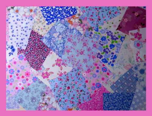 25 or 50 packs FLORAL fabric PINK and BLUE patchwork squares 4 x 4 ins 10cms